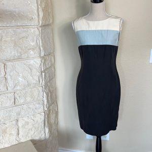 Vintage Silk & Linen Color-block Sheath Dress